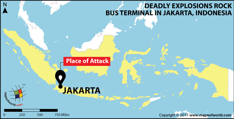 Location Map of Deadly Explosions Rock Bus Terminal in Jakarta Indonesia