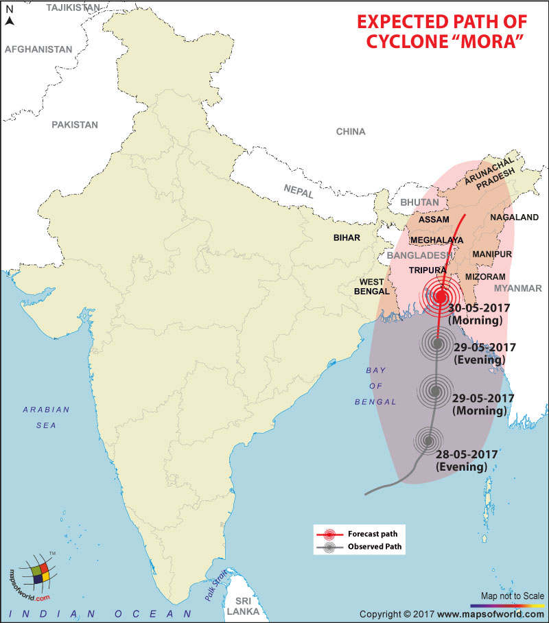 Cyclone Mora Tracking Map