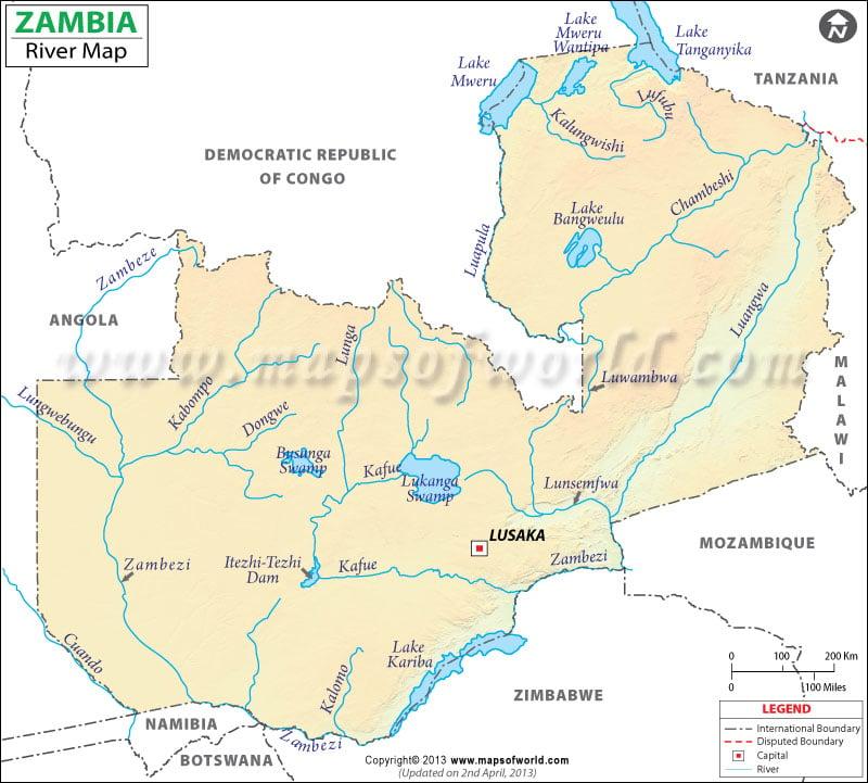 Zambia River Map